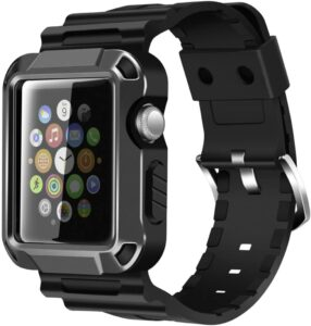 Iiteeology Apple Watch 42mm Band Compatible Rugged Protective iWatch Case and Band Strap with Built-in Screen Protector